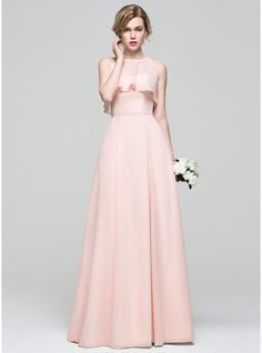 A-Line Princess Sweetheart Floor-Length Bow(s) Zipper Up Strapless  Sleeveless Yes Pearl Pink Spring Summer Fall General Plus Chiffon  Bridesmaid Dress f89fa15f729e