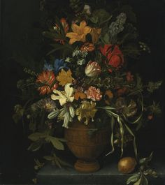 Maria van Oosterwijck NOOTDORP 1630 - 1693 UITDAM A FLORAL STILL LIFE WITH YELLOW AND WHITE LILIES, AN IRIS, A SUNFLOWER, A NARCISSUS, CARNATIONS AND OTHER FLOWERS IN A TERRACOTTA VASE, PLACED ON A LEDGE WITH A LEMON, A LIME AND A BUTTERFLY