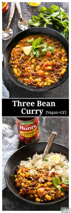 Vegan and gluten-free Three Bean Curry. Easy to make, wholesome and good for you! #HuntsHasHeart #ad /walmart/ /huntschef/ Find the recipe on http://www.cookwithmanali.com