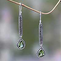 Peridot dangle earrings, 'Falling Raindrops' - Balinese Peridot and Silver Artisan Crafted Earrings