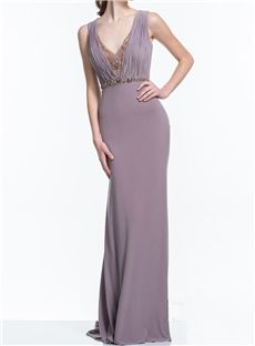 Luxurious Sheath V Neck Beading Back Floor Length Evening Dress