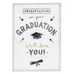 This fun card, which is exclusive to Paperchase, features a monochrome text design with tip-ons and gold foil. The card comes with a matching black envelope, is suitable for letter post and is blank inside for your own message. Congratulations Card Graduation, Congratulations Quotes, Graduation Quotes, Graduation Cards, Good Luck Cards, Cool Cards, Framed Letters, Yearbook Layouts, Birthday Card Design