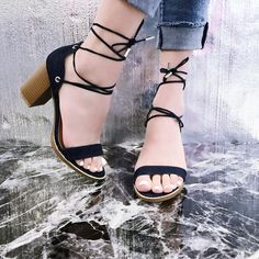 Dark Denim Strappy Tie Lace Up Open Toe Faux Wooden Chunky Heels Lace Up Heels, High Heels Stilettos, Stiletto Heels, Shoes Heels, Spring Shoes, Summer Shoes, Prom Shoes, Dark Denim, Womens High Heels