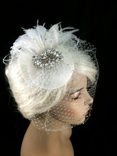 Birdcage Veil Bridal Hat Ivory Feather Fascinator by IceGreenEyes, $159.00