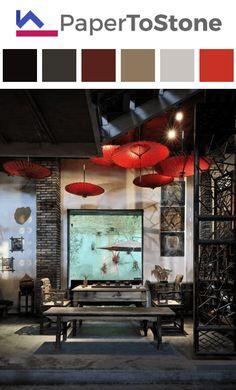 Living room color palette - black dark-grayish-fuchsia dark-tangelo light-scarlet tangelo Black Dark, Asian Style, Room Colors, Color Palettes, Scarlet, House Design, Living Room, Interior Design, Decor