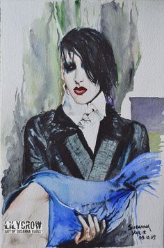 The Vampires - Marilyn Manson by Susanna Varis water color 2008