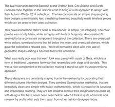 ORPHAN BIRD PRESENTS AUTUMN WINTER 2014/15  Fashion Style: 28 April 2014