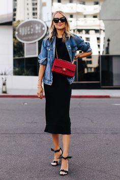 Fashion Jackson Wearing Denim Jacket Black Tshirt Black Silk Skirt Red Chanel Handbag Alexandre Birman Clarita Black Sandals # Casual Outfits with flats leopards Style Année 80, Style Work, Looks Style, Mode Style, Cl Fashion, Trend Fashion, Denim Fashion, Fashion Outfits, Style Fashion