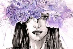 watercolors and black Indian ink (waterproof) on Canson pap...