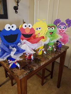 Elmo First Birthday, Boys 1st Birthday Party Ideas, Monster Birthday Parties, Birthday Fun, First Birthday Parties, Birthday Party Centerpieces, Elmo Party Decorations, Sesame Street Centerpiece, Sesame Street Party