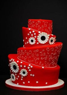 Gorgeous Red Topsy Turvy Cake with Piped Scrolling and Cute Flowers! Crazy Cakes, Fancy Cakes, Gorgeous Cakes, Pretty Cakes, Amazing Cakes, Wedding Cake Red, Wedding Cakes With Cupcakes, Wedding Flowers, Fondant Cakes