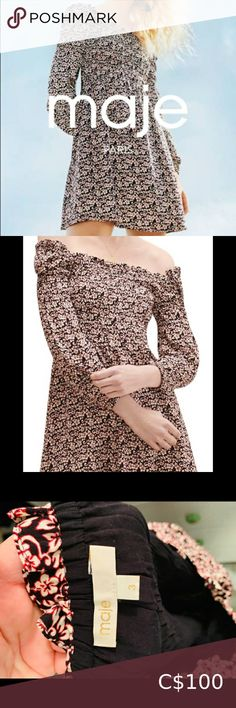 Maje Floral Dress Never Worn! Beautiful floral dress short and sweet! Can be worn on or off the shoulder. Plus Fashion, Womens Fashion, Fashion Tips, Fashion Trends, Short Dresses, Shoulder, Mini, Sweet