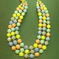 #vintage50s triple strand necklace; duck-egg speckled glass in #spring shades #vintagejewellery #vintagecostumejewellery #vintagejewelry #vintagecostumejewelry #vintagenecklace