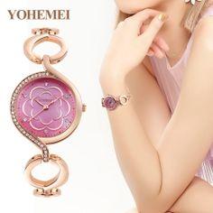 YOHEMEI Brand Fashion Design Women Watches Ladies Flower dial Quartz Watch Pink gold Alloy Strap Luxury Clock Relogios Femininos