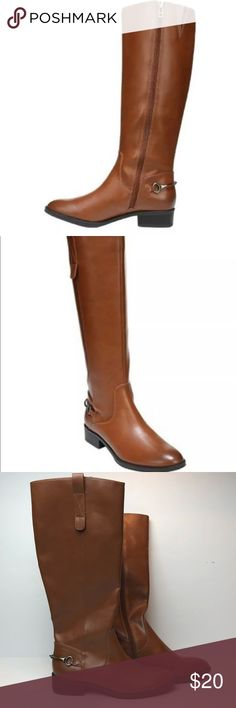 Sam & Libby Perry Riding Boots Size 7.5 Womens Sam & Libby size 7.5 Perry Riding Boots  New with defects/without box  (shelf wear )see photos . Writing to bottom soles . Inner labels have been marked though to prevent store returns   Boots are synthetic Sam & Libby Shoes