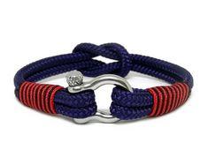 Sand Beige /& Silver Shackle Bracelet Mens Paracord Rope Nautical Sailing