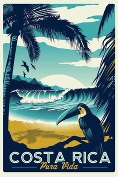 Happy Birthday Posters, Bath Art, Vintage Travel Posters, Wave Surf, Palm Trees, Costa Rica, Original Artwork, Retro Vintage, Surfing