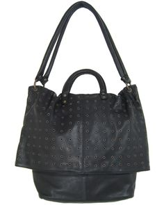 Where | Fairtrade Leather Studded Slouch Bag-Black | Designer Eco Ethical Fashion | Fashion-Conscience.Com