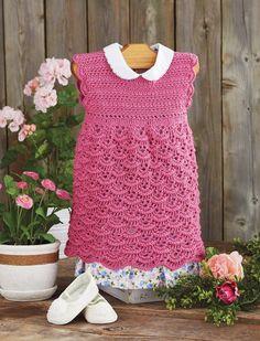 "Mary Maxim - Crocheted Dress - Size 18 months, 2 years (22"", 23"") Maxi Dress With Slit, Maxi Wrap Dress, Beach Wear Dresses, Casual Dresses, Bodycon Dress Parties, Luxury Dress, Summer Dresses For Women, 18 Months, Mary"
