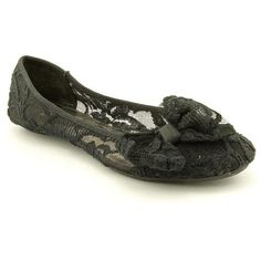 awesome Material Girl Women's Glow Romantic Lace Ballet Flats in Black