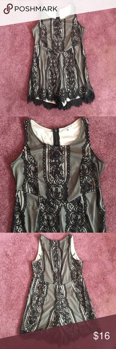 Lace Romper Black & Tan worn once, has a zipper in the back. bundle with other products and save! Charlotte Russe Dresses Mini