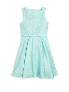 Elisa B. Girl's Piping Dress - Aqua - Size