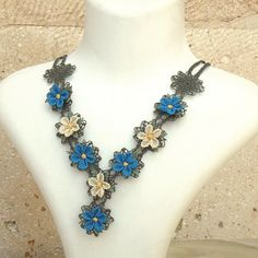 Turkish OYA Lace  Silk Necklace Plumeria Blue  Crocheted