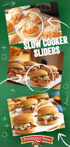 Make football Sunday food prep easy with these slow cooker slider recipes. Heat things up with Slow Cooker Buffalo Chicken Sliders. Our Apple Bourbon Pulled Pork Sliders have shredded pork shoulder slow-cooked in savory apple bourbon sauce. Try sliders wi Crock Pot Slow Cooker, Crock Pot Cooking, Slow Cooker Recipes, Crockpot Recipes, Cooking Recipes, Healthy Recipes, Slider Recipes, Pork Recipes, Chicken Recipes