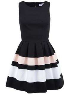 Closet - Černé šaty se světlými pruhy - 1
