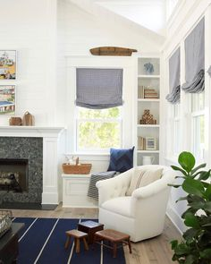 Cottage Living Rooms, Coastal Living Rooms, Coastal Homes, Living Room Chairs, Coastal Cottage, Coastal Interior, Coastal Style, Dining Room, Transitional Living Rooms