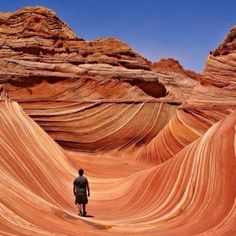 Located in the area of the Paria Canyon-Vermillion Cliffs Wilderness on the Utah/Arizona border, the Wave is a multi-colored chute that has been cut into a sandstone mountain. I want to go here! The Wave Arizona, The Wave Utah, Paria Canyon, Bryce Canyon, Canyon Utah, Antelope Canyon, Grand Canyon, Oh The Places You'll Go, Places To Travel