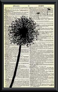 Make a Wish Dandelion Vintage Dictionary Page Art by woodendoll, $7.00