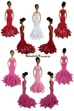 """Crochet Toys Barbie Clothes Trumpet Dresses of the """"Happily Ever After"""" crochet pattern for fashion dolls Crochet Doll Dress, Crochet Barbie Clothes, Crochet Doll Pattern, Knitted Dolls, Barbie Clothes Patterns, Doll Patterns, Crochet Mignon, Barbie Wardrobe, Barbie Dress"""