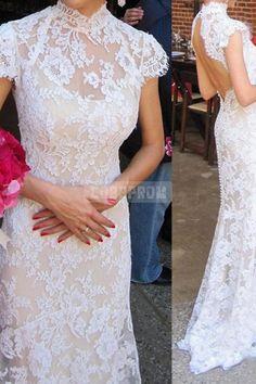 High Collar Mermaid Open Back Buttons Wedding Dress