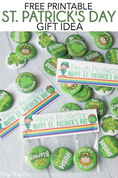 """Give your friends and family green St. Patrick's Day pins with these free pirintable """"pinch protector"""" gift tags for the perfect St. Patrick's Day gift idea!"""