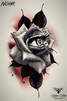 Dark Roses Tattoo, Rose Flower Tattoos, Dark Art Tattoo, Tattoo Flash Art, Rose Drawing Tattoo, Flower Tattoo Drawings, Tattoo Design Drawings, Bird Drawings, Lion Tattoo Design