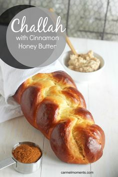 Challah with Cinnamon Honey Butter Traditional Jewish bread. Beautiful braided bread made with eggs. Perfect for Easter serves up wonderfully with cinnamon honey butter. Cinnamon Honey Butter, Honey Bread, Cinnamon Bread, Cannoli, Kitchen Boss, Biscotti, Jewish Bread, Jewish Food, Challah Bread Recipes