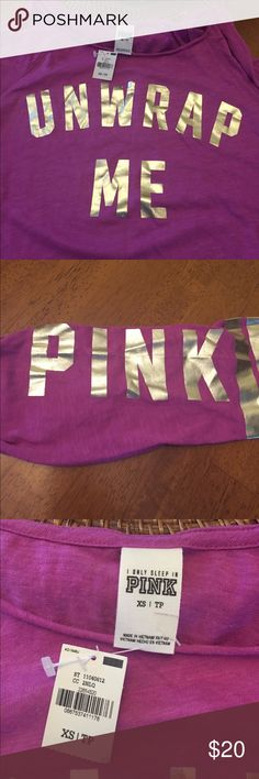 Vs pink tee 3/4 sleeves that have pink written on them, unwrap me printed on the front. Color is more orchid purple with gold letters. Perfect for Christmas PINK Victoria's Secret Tops Tees - Long Sleeve
