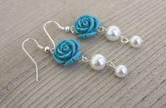 Turquoise Flower Earrings Turquoise Rose Earrings Glass