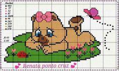 Bem vindo bebê! Cross Stitch Animals, Plastic Canvas Patterns, Betty Boop, Pixel Art, Cross Stitch Patterns, Needlework, Knit Crochet, Teddy Bear, Crossstitch
