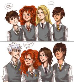 Rapunzel, Jack, Merida, and Hiccup as Hogwarts Students