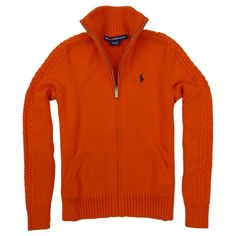 Ralph Lauren Sport Womens Full Zip Mock Neck, Pony Logo Cardigan in Basketball Orange. Great sweater to keep you warm this winter! Order today from #GreatSkyGifts on #Amazon.  http://www.amazon.com/gp/aag/main?ie=UTF8&seller=A3G4UMVJUY3B5O #RalphLauren #Sport #Activewear