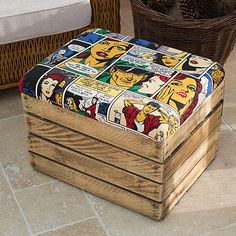 Comic Strip Wooden Crate Storage Box Seat-I might actually be able to do this one! Pallet Crates, Wooden Crates, Wood Pallets, Wood Pallet Furniture, Kids Furniture, Crate Ottoman, Crate Storage, Storage Stool, Superhero Room