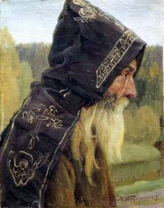 The cap of a monk in medieval Russia, Eastern Orthodox, as 'capuche'. Capuche was always black and embroidered by signs of faith, as skulls, that meant the readiness to death; Orthodox cross; world of a prayer. A capuche was sewed together with a long cloak, also embroidered.