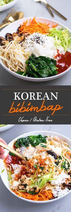 Looks yummy & beautiful!! Korean Bibimbap // rice & seasonal sautéed veggies with spicy Gochujang chilli sauce #vegan – More at http://www.GlobeTransformer.org
