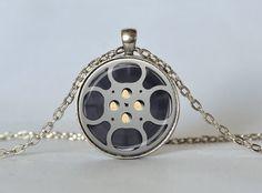 FILM REEL NECKLACE Film Reel Pendant Gray and Black Filmmaker Jewelry Film Pendant Filmmaker Gift on Etsy, $14.45