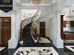Cầu thang Thiết kế biệt thự cổ điển 2 tầng nguy nga và đẳng cấp tại Tây Ninh - 26 House Arch Design, Duplex House Design, Main Door Design, Villa Design, Staircase Design, Classic House Design, Dream Home Design, Drawing House Plans, Round Stairs