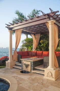 Oceanside Cabana Featuring A Fire Table, Chic Tile & Sleek Sectional Impresses With Mediterranean Luxury - Relax+in+the+heat+of+they+day+within+this+stunning+poolside+cabana,+equip+with+luxurious,+flowing,+ - Backyard Gazebo, Backyard Patio Designs, Outdoor Pergola, Backyard Landscaping, Pergola Ideas, Outdoor Daybed, Outdoor Rooms, Outdoor Living, Ideas Cabaña