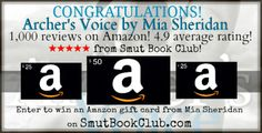 Congratulations to Mia Sheridan for reaching 1,000 reviews on Amazon!  http://smutbookclub.com/giveaway-archers-voice-reaches-1000/