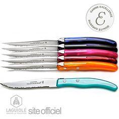 LAGUIOLE Excellence 6 couteaux, mélange Eté. L'authentique Coffret Excellence 6 couteaux Laguiole manche couleur 'printemps' ABS, fait main, des couleurs chaudes très tendance Chaque couteau est un modèle unique. Laguiole http://www.amazon.fr/dp/B00ORQCBM8/ref=cm_sw_r_pi_dp_TpM6vb02G1HNT